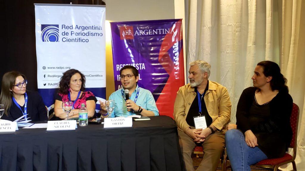 Ricardo Goldberger (moderador), Milagro Plasencia, Claudia Nicolini y Gastón Ortiz (autores), el Dr. Miguel Pedrola y Natalia Haag (izq. a der.)
